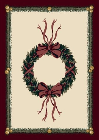 Holiday Rugs Holiday Wreath P-4533 Area Rug