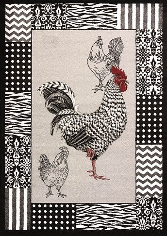 Cristall B and W Rooster arearugs