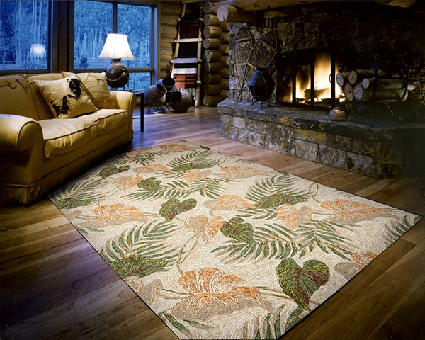 Nourison Home And Garden Machine Made Leaves Rug Indoor Outdoor Green