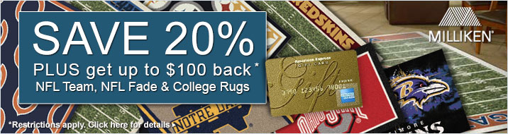 Milliken - save 20% plus get up to $100 back on the NFL Team and NFL Fade Collections