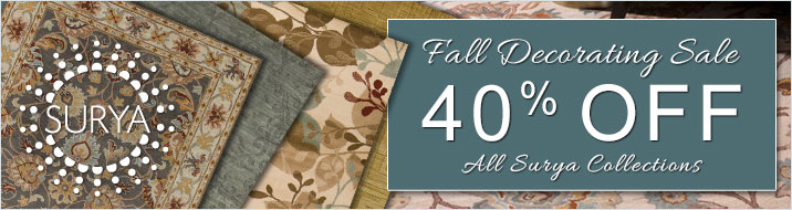 Surya Fall Decorating Sale - save 40% on all Surya collections.