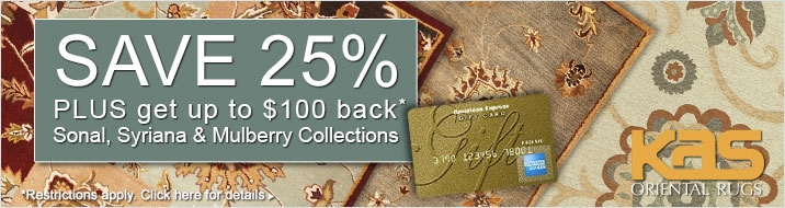Save 25% plus get up to $100 back on the KAS Oriental Sonal, Syriana and Mulberry collections