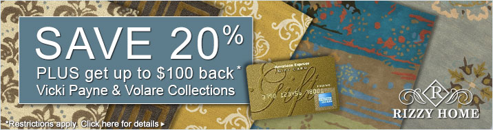 Save 20% plus get up to $100 back on the Rizzy Home Vicki Payne and Volare collections