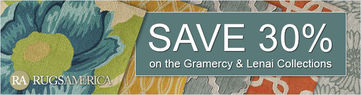 Save 30% on the Rugs America Gramercy and Lenai collections