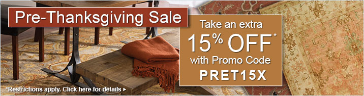 Pre-Thanksgiving Sale - take an extra 15% off your order with Promo Code PRET15X