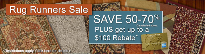Rug Runners Sale - save 50-70% plus get up to $100 back