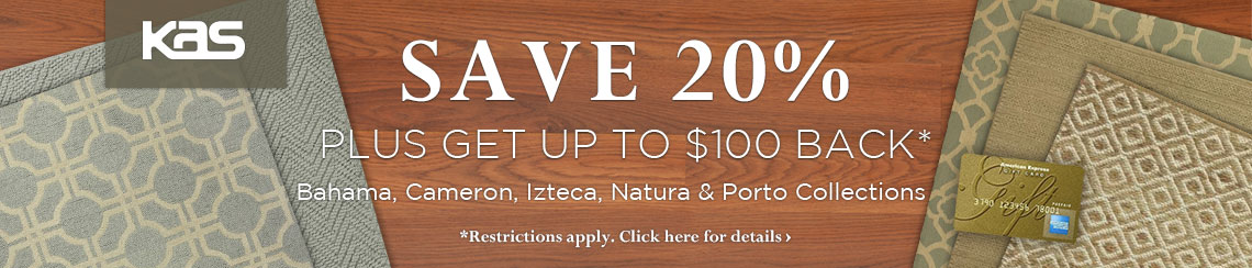 KAS Oriental - save 25% plus get up to $100 back on the Bahama, Cameron, Izteco, Natura and Porto Collections.