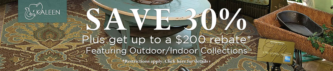 Kaleen - featuring outdoor/indoor rugs at savings of 30% plus get up to $200 back.