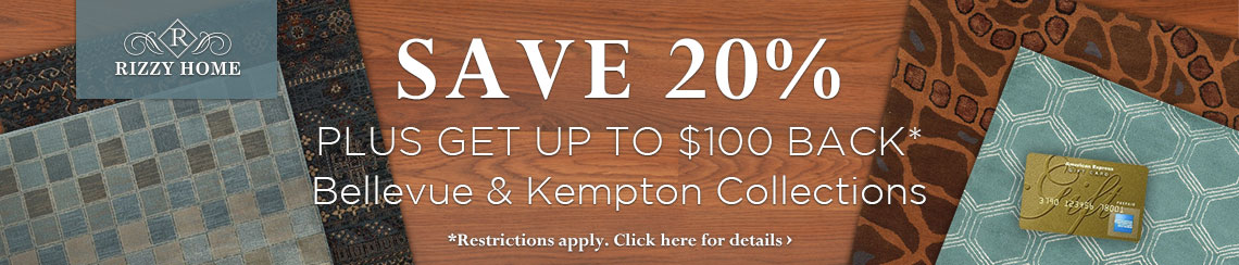 Rizzy Home - save 20% plus get up to $100 back on the Bellevue and Gillespie Avenue Collections.