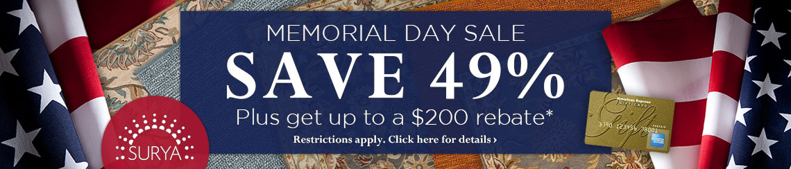 Surya - Memorial Day Sale - Save 49% plus get up to $200 back.