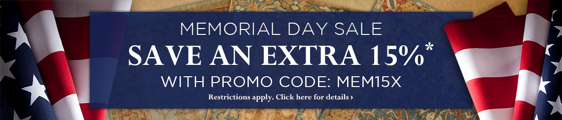 Memorial Day Sale - take an extra 15% off with Promo Code MEM15X.