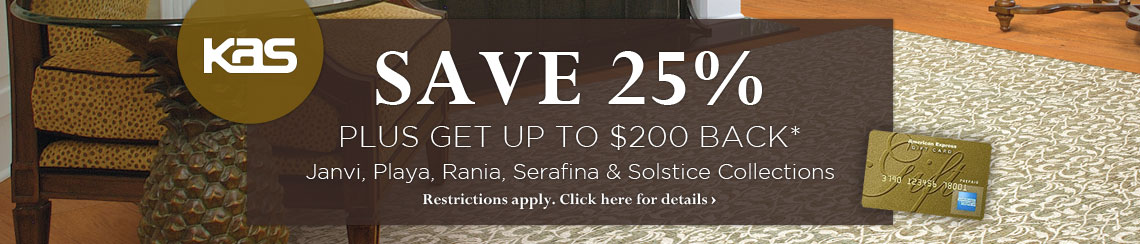 KAS Oriental - Save 25% plus get up to $200 back on selected collections.