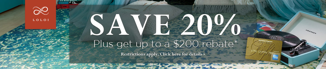 Loloi Rugs - Save 20% plus get a rebate of up to $200.