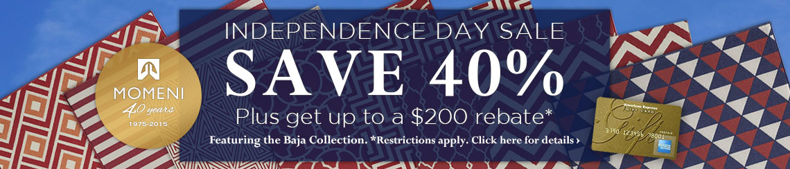 Momeni Independence Day Sale - Save 40% plus get up to a $200 rebate.