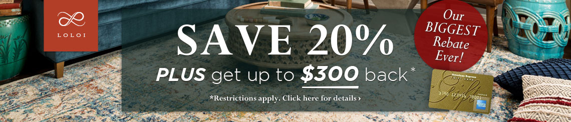 Loloi Rugs - Save 20% plus get up to $300 back.