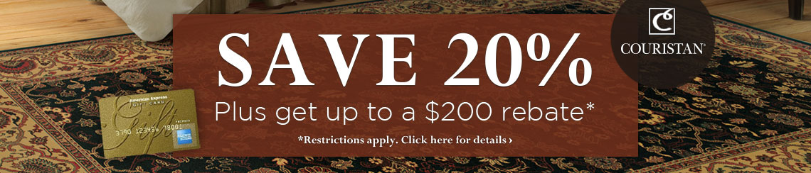 Couristan - Save 20% plus get up to a $200 rebate.