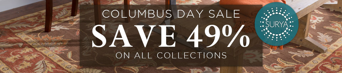Surya Columbus Day Sale - Save 49% on all collections.