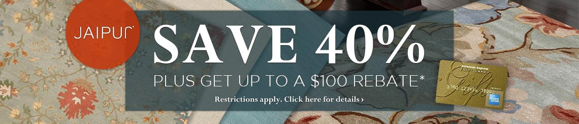 Jaipur Rugs - Save 40% plus get up to $100 back.
