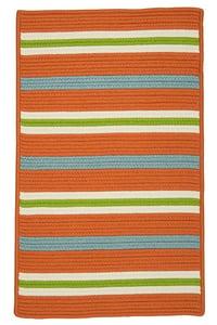 Tangerine, Blue (PS-21) Painter Stripe Painter Stripe Striped Area Rugs