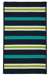 Navy Waves, Green (PS-51) Painter Stripe Painter Stripe Striped Area Rugs