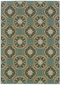 Blue, Ivory (8323L) Montego 8323 Contemporary / Modern Area Rugs