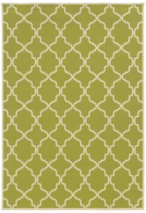 Green, Ivory (M) Riviera 4770 Contemporary / Modern Area Rugs