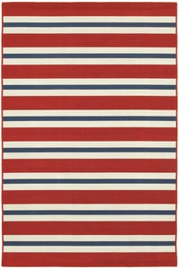 Red, Blue (R) Meridian 5701 Striped Area Rugs