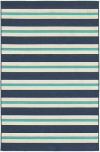 Blue, Ivory (B) Meridian 5701 Striped Area Rugs