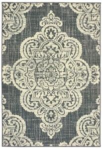 Grey, Ivory (E) Marina 5929 Contemporary / Modern Area Rugs