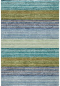Blue (18695) Hand Tufted Brushstroke Striped Area Rugs