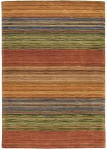 Rust (18695) Hand Tufted Brushstroke Striped Area Rugs