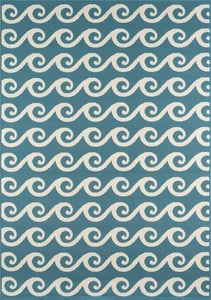 Blue Baja Waves Beach / Nautical Area Rugs