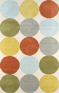 Ivory, Rust, Green (DEL-1) Delmar Agatha Dots Contemporary / Modern Area Rugs