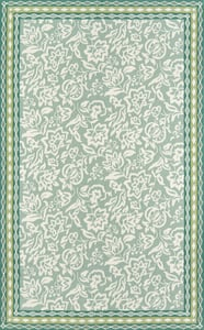 Green, Ivory Under A Loggia Rokeby Road Floral / Botanical Area Rugs