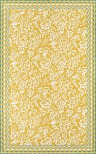 Yellow, Ivory Under A Loggia Rokeby Road Floral / Botanical Area Rugs