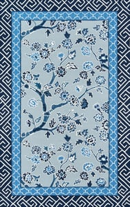Blue, Navy, White Under A Loggia Blossom Dearie Floral / Botanical Area Rugs