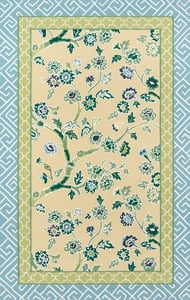Yellow, Green, Blue Under A Loggia Blossom Dearie Floral / Botanical Area Rugs