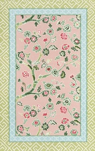 Pink, Green, Blue Under A Loggia Blossom Dearie Floral / Botanical Area Rugs