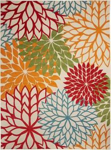 Green, Red, Orange Aloha ALH-05 Floral / Botanical Area Rugs