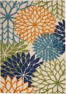 Tan, Sage, Orange, Blue Aloha ALH-05 Floral / Botanical Area Rugs