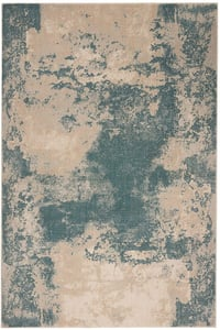 Ivory, Teal Maxell MAE-13 Abstract Area Rugs