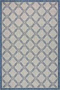 Ivory, Blue Garden Party GRD-02 Contemporary / Modern Area Rugs