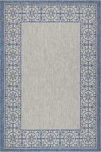 Ivory, Blue Garden Party GRD-03 Contemporary / Modern Area Rugs