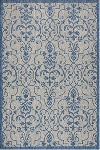 Ivory, Blue Garden Party GRD-04 Contemporary / Modern Area Rugs