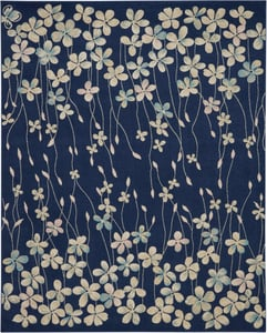 Navy Tranquil TRA04 Floral / Botanical Area Rugs