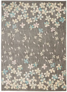 Grey, Beige Tranquil TRA04 Floral / Botanical Area Rugs