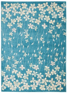 Turquoise Tranquil TRA04 Floral / Botanical Area Rugs