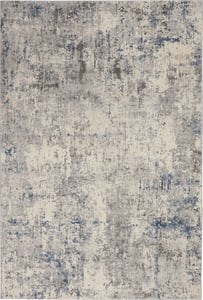 Ivory, Grey Blue Rustic Textures RUS-07 Contemporary / Modern Area Rugs