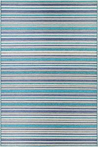 Cobalt, Teal (1403-0002) Cape Brockton Striped Area Rugs