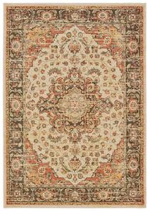 Ivory, Orange (A) Toscana 9551 Traditional / Oriental Area Rugs